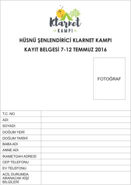 hüsnü şenlendirici klarnet kampı kayıt belgesi 7