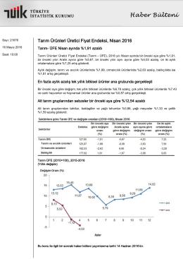 Tarım Ürünleri Üretici Fiyat Endeksi-(Nisan 2016