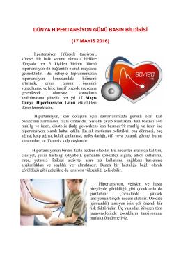 Dünya Hipertansiyon Günü - Tekirdağ Halk Sağlığı Müdürlüğü