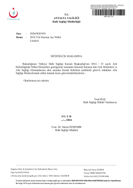 haziran nöbet onayı - Antalya Halk Sağlığı Müdürlüğü