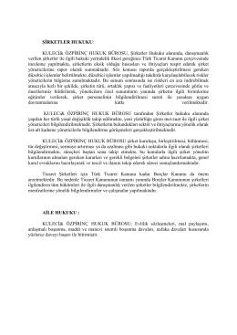 ŞİRKETLER HUKUKU - Kuleci & Özpirinç Hukuk Bürosu
