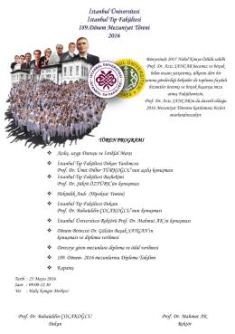 2016 Mezuniyet Davetiyesi ve Programı