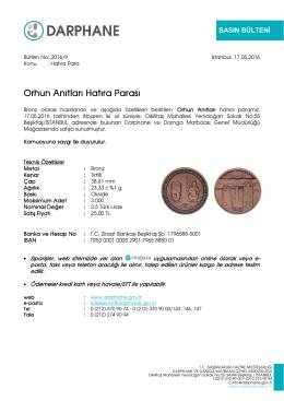 Orhun Anıtları Hatıra Parası - Darphane ve Damga Matbaası Genel