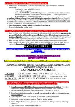 2011 yaz okuluna yeni kay  t için gerekli olan evraklar