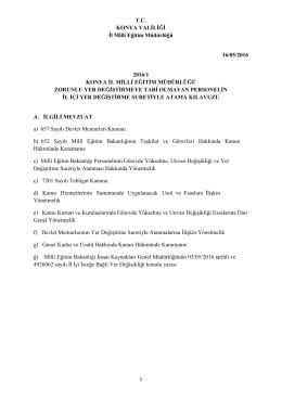 T.C. KONYA VALĠLĠĞĠ Ġl Milli Eğitim Müdürlüğü 16/05/2016 2016