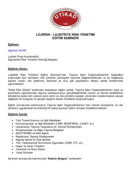 Lojirisk- Lojistikte Risk Yönetimi