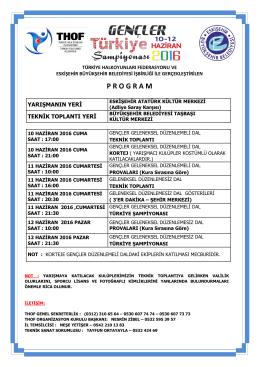 gençler türkiye şampiyonası programı 10 – 12 haziran 2016