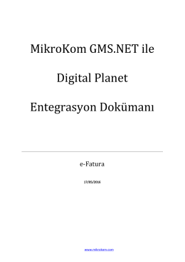 e-Fatura Digital Planet Entegre Dokümanı
