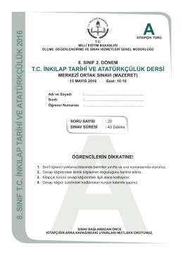 T.C. İnkılap Tarihi ve Atatürkçülük Dersi A Kitapçığı