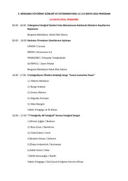 5. Bergama Fotoğraf Günleri ve Fotomaratonu 12 /15 Mayıs