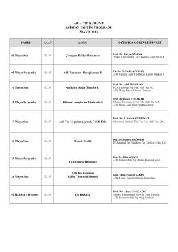 Mayıs 2016 Asistan Eğitim Programı