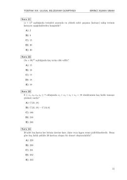 E) 19 Soru 23 0 ≤ x 1,x2,x3,x4 ≤ 7 oldu˘gunda x 1 +