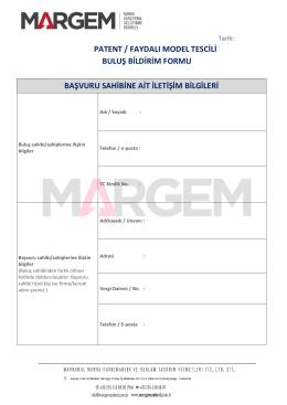 Buluş Bildirim Formu - margem marka & patent ofisi