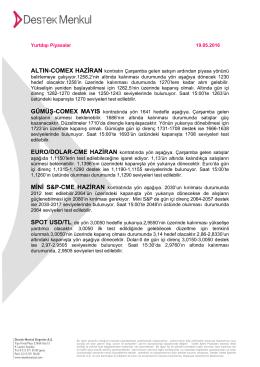 Yurtdışı Piyasalar 16.05.2016 ALTIN
