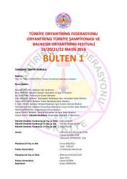 bülten 1 - Türkiye Oryantiring Federasyonu