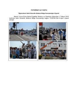 FOTOĞRAF ALTI NOTU - Sahil Güvenlik Komutanlığı