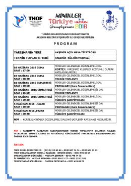 minikler türkiye şampiyonası programı 03 – 05 haziran 2016