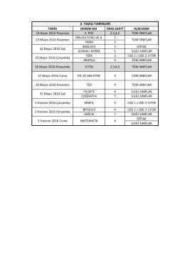 Derya Öncü Lisesi 2. dönem yazılı tarihleri PDF