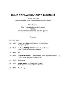 Sakarya Semineri Programı - Türk Yapısal Çelik Derneği