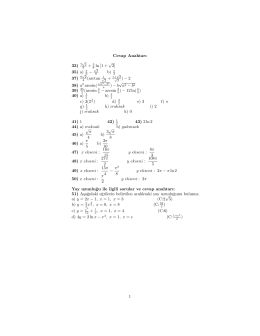 "Cevap Anahtar@ "" # (12   $ "" ""%    35) a) b) .3/5.2 ! % ! b""a .3/402 $ .3"