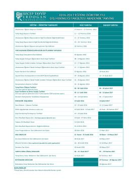 2016-2017 Eğitim-Öğretim Yılı Akademik Takvimi (Diş Hekimliği