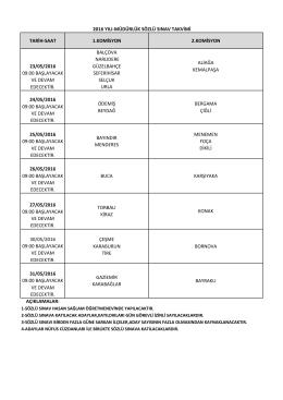 tarih-saat 1.komisyon 2.komisyon 23/05/2016 09:00 başlayacak ve
