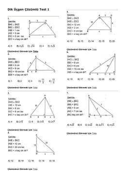 Dik Üçgen Çözümlü Test 1