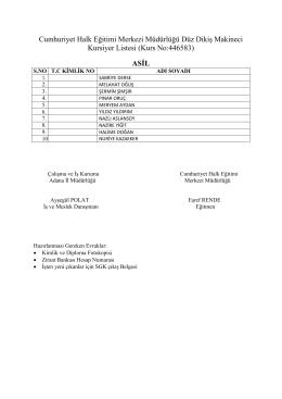 Düz Dikiş Makinecisi Asil Liste - 13.05.2016