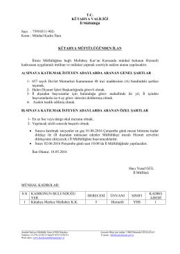 TC KÜTAHYA VALİLİĞİ İl Müftülüğü Sayı