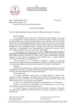 T.C. MİLLÎ EĞİTİM BAKANLIĞI Din Öğretimi Genel Müdürlüğü Sayı