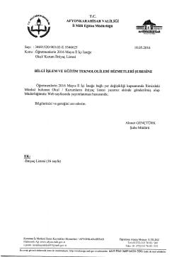 Müdürlüğümüzün konu ile ilgili 18/05/2015 tarih ve 5546625 sayılı
