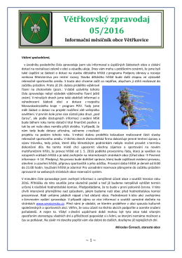 Větřkovský zpravodaj 05/2016