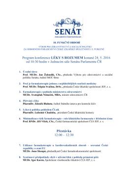 Program konference LÉKY S ROZUMEM konané 24. 5