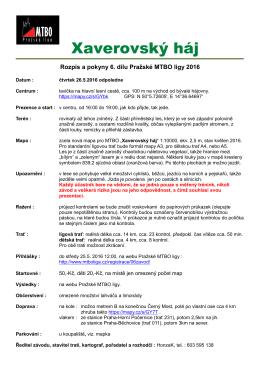 Xaverovský háj - Pražská MTBO liga