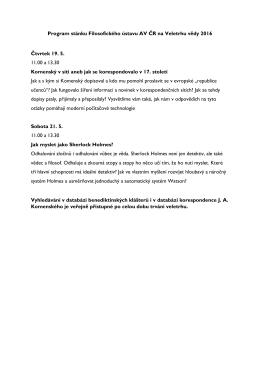 Program stánku Filosofického ústavu AV ČR na Veletrhu vědy 2016