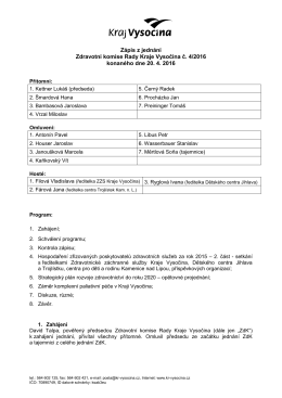 Zápis ze zasedání Zdravotní komise Rady Kraje Vysočina č. 4/2016