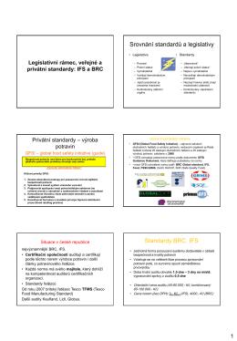 01 Legislativní rámec, veřejné a privátní standardy