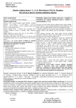 Nabídkové řízení na nájem městského bytu č. 2/2016