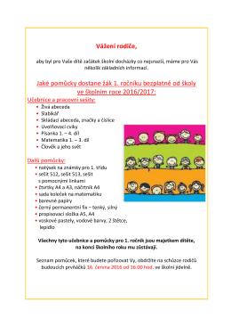 Schůzka rodičů budoucích prvňáků 16. června 2016 od 16.00 hod