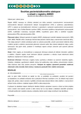 Souhlas pacienta s účastí v registru AINSO (Autoimunitní