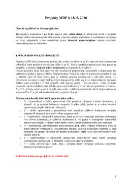 Projekty MDP k 18. 5. 2016