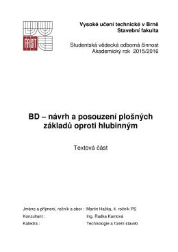 BD – návrh a posouzení plošných základů oproti