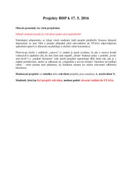 Projekty BDP k 17. 5. 2016