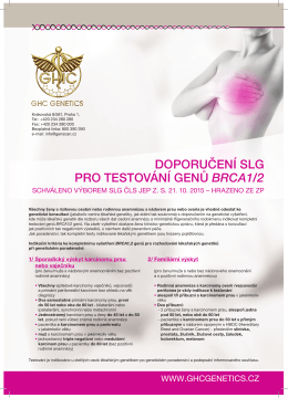 doporučení slg pro testování genů brca1/2