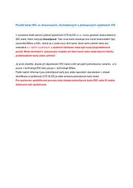 Použití karty ISIC v systémech VIS