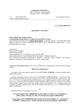 Dražební vyhláška - JUDr. Filip Exner
