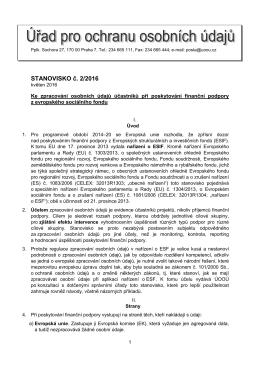 STANOVISKO č. 2/2016 - Úřad pro ochranu osobních údajů