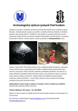 Archeologický výzkum jeskyně Pod hradem