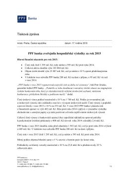 PPF banka zveřejnila hospodářské výsledky za rok 2015