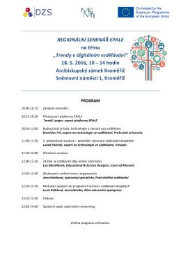 Program reg. semináře EPALE - 18. 5. 2016 - Kroměříž
